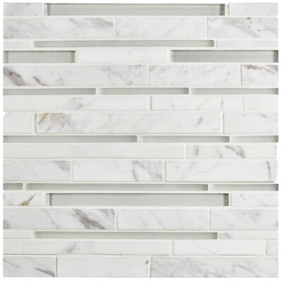 Sierra Grand Piano Random Sized Glass and Marble Mosaic Tile in White Carrara