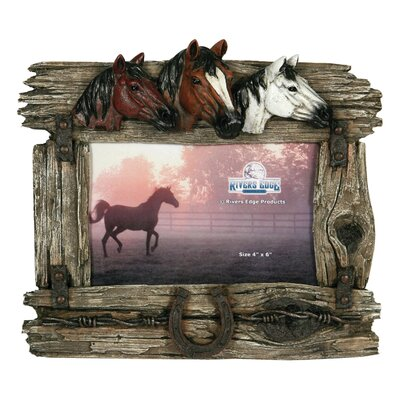 3 Horse with Barbed Wire Picture Frame 1100