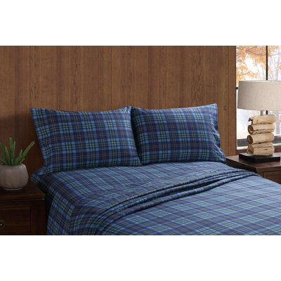 Moose and Canoe Plaid Sheet Set Size: Full