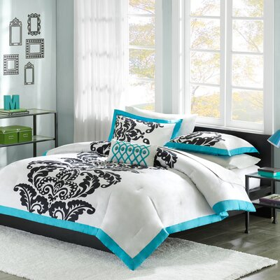Florentine Duvet Cover Set Size: Twin / Twin Extra Long, Color: Teal