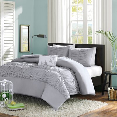 Hugh Reversible Duvet Cover Set Size: King / California King, Color: Grey