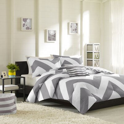 Libra Reversible Duvet Cover Set Size: Full / Queen, Color: Gray / White