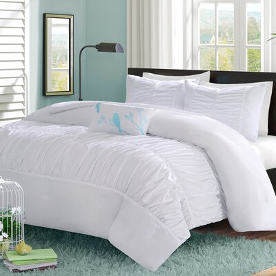 Mirimar Reversible Duvet Cover Set Size: Full / Queen, Color: White