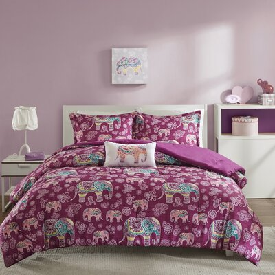 Elly Comforter Set Size: Twin/TXL, Color: Berry