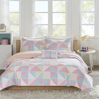 Charlie 3 Piece Coverlet Set Color: Pink, Size: Full/Queen