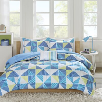 Charlie Comforter Set Color: Blue, Size: Full/Queen