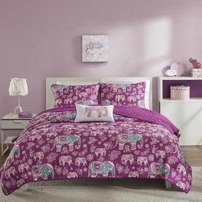 Elly Coverlet Set Color: Berry, Size: Full/Queen