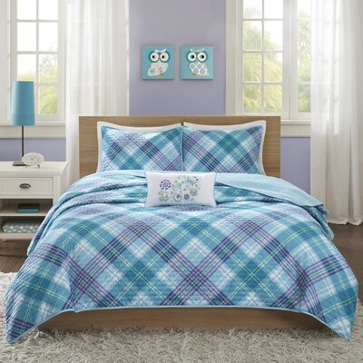 Reese Coverlet Set Color: Teal, Size: Full/Queen