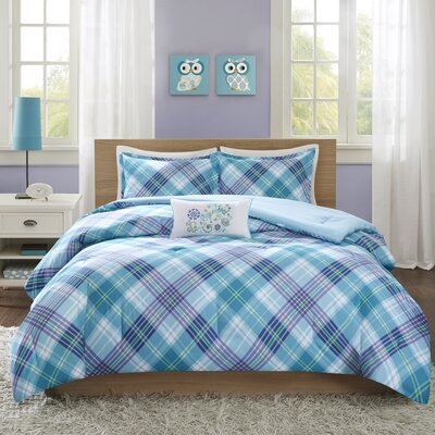 Reese 4 Piece Comforter Set Color: Teal, Size: Full/Queen