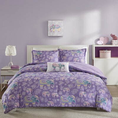 Elly Comforter Set Size: Full, Color: Purple