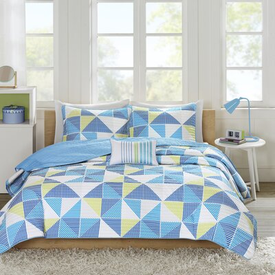Charlie 3 Piece Coverlet Set Color: Blue, Size: Full/Queen