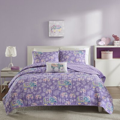 Elly Coverlet Set Size: Twin/Twin XL, Color: Purple
