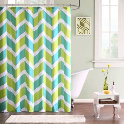 Billie Polyester Shower Curtain Color: Green/Teal