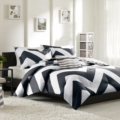 Bullock Reversible Duvet Cover Set Color: Black / White, Size: Twin / Twin XL