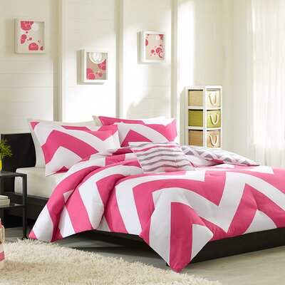 Bullock Reversible Duvet Cover Set Color: Pink / White, Size: Twin / Twin XL