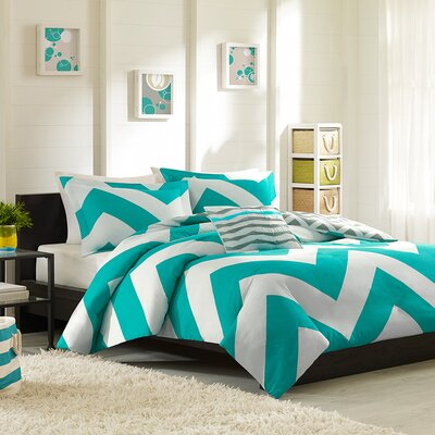 Bullock Reversible Duvet Cover Set Color: Blue / White, Size: Twin / Twin XL