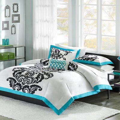 Florentine Comforter Set Color: Teal, Size: King