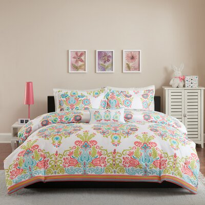 Britt 4 Piece Comforter Set Color: Coral, Size: Full/Queen