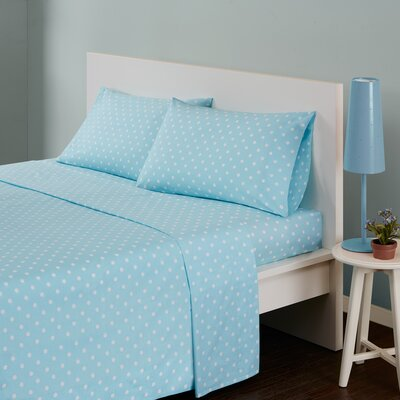 Polka Dot 180 Thread Count Cotton Sheet Set Size: Queen, Color: Aqua