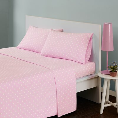 Polka Dot 180 Thread Count Cotton Sheet Set Size: Twin, Color: Pink