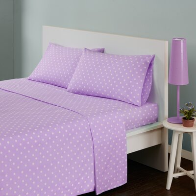 Polka Dot 180 Thread Count Cotton Sheet Set Size: Twin, Color: Purple