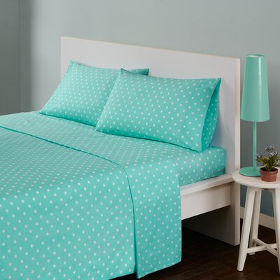 Polka Dot 180 Thread Count Cotton Sheet Set Size: Full, Color: Seafoam