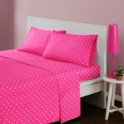 Polka Dot 180 Thread Count Cotton Sheet Set Size: Twin, Color: Dark Pink
