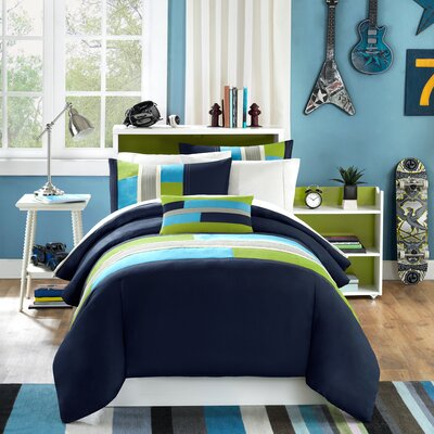 Pipeline Comforter Set Size: King / California KIng, Color: Blue Striped