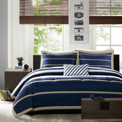 Willits Comforter Set Color: Navy, Size: King / California King