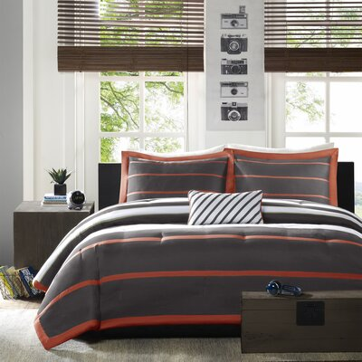 Willits Comforter Set Color: Orange/Grey, Size: King / California King