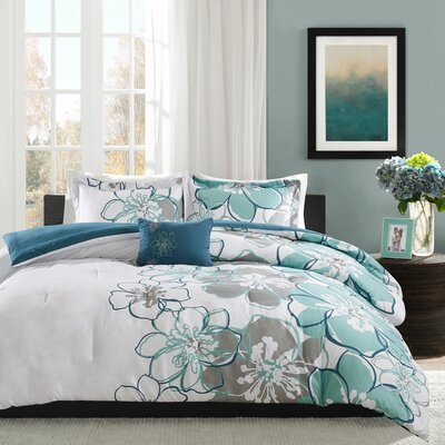 Kieran Comforter Set Size: Twin / Twin XL, Color: Blue/Green/Gray