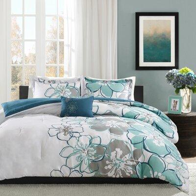 Allison Comforter Set Size: Full / Queen, Color: Blue/Green/Gray