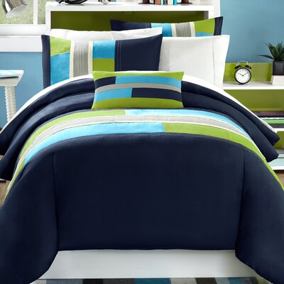 Preston Duvet Cover Set Size: Full/Queen, Color: Navy Blue