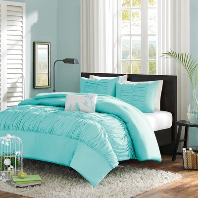 Mirimar Reversible Duvet Cover Set Color: Blue, Size: Full / Queen
