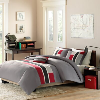 Preston Comforter Set Size: Twin / Twin XL, Color: Red Striped