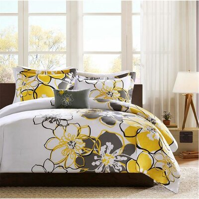 Allison Comforter Set Size: Full / Queen, Color: Yellow/Gray/Black