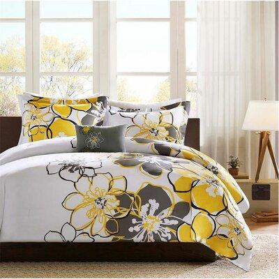Kieran Comforter Set Size: Full / Queen, Color: Yellow/Gray/Black