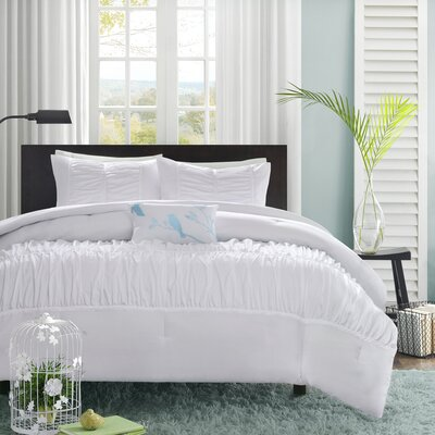 Hugh Reversible Duvet Cover Set Size: King / California King, Color: White