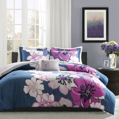 Kieran Comforter Set Size: Full / Queen, Color: Fuschia/Navy/Gray