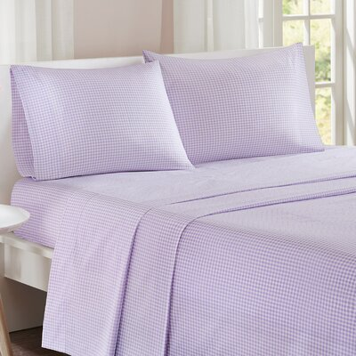 Gingham 100% Cotton Sheet Set Size: Queen, Color: Purple