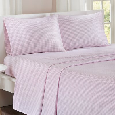 Gingham 100% Cotton Sheet Set Size: Full, Color: Pink
