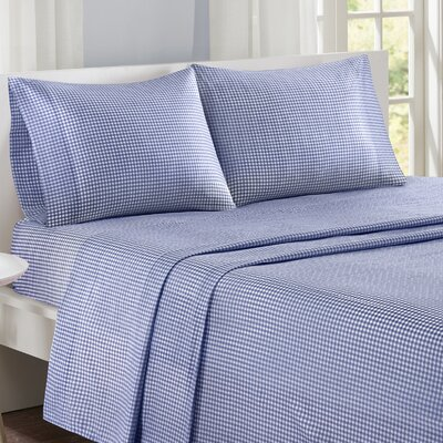Gingham 100% Cotton Sheet Set Size: Queen, Color: Navy