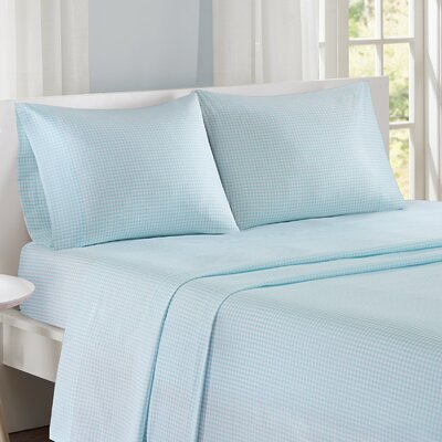 Gingham 100% Cotton Sheet Set Size: Full, Color: Aqua