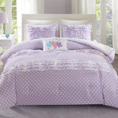 Lana Comforter Set Size: Full/Queen, Color: Purple
