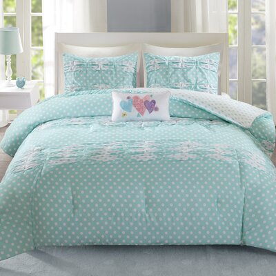 Lana Comforter Set Size: Full/Queen, Color: Aqua