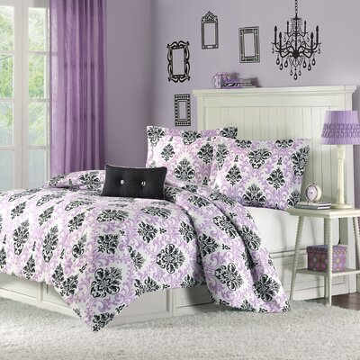 Katelyn Teen Comforter Set Size: Full / Queen, Color: Purple