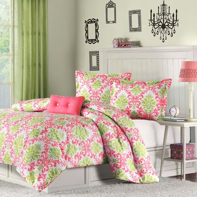 Piper Teen Comforter Set Size: Twin/  Twin XL, Color: Coral