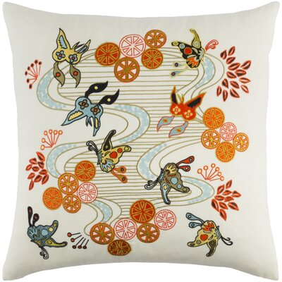 Kismet Chinese River Pillow Cover Size: 20 H x 20 W x 0.25 D, Color: White/Orange