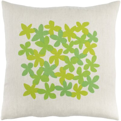 Flying Colors Little Flower Pillow Cover Size: 20 H x 20 W x 0.25 D, Color: Green
