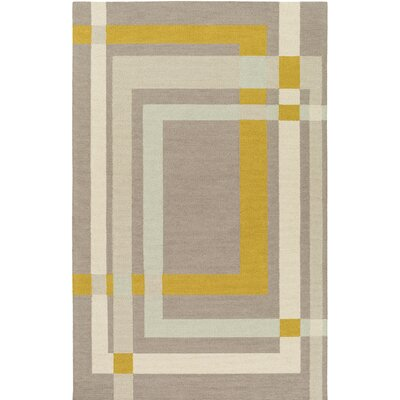 Kismet Color Forms Hand-Tufted Modern Yellow/Cream Area Rug Rug Size: 2 x 3